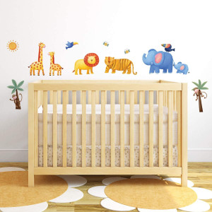 RoomMates RMK1136SCS Jungle Adventure Peel and Stick Wall Decals, Multi