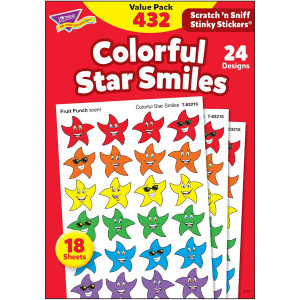 TREND enterprises, Inc. Colorful Star Smiles Stinky Stickers Variety Pack, 432 ct