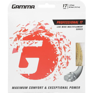 Gamma Sports Live Wire Tennis Racket String Multifilament Series- Softer Cushioned Feel For Exceptional Power and Greater Control That Is Easy On The Arm - 16L, 17, or 18 Gauge (Natural)