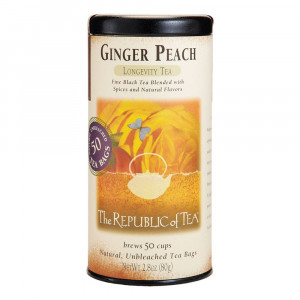 The Republic of Tea Ginger Peach Black Tea, Caffeinated, 50 Count
