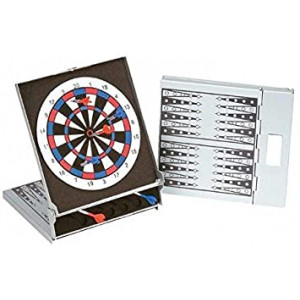 """6.75"""" Magnetic Travel Backgammon with Mini Dart Game, Silver Color"""