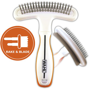 Wahl 2-in-1 Combination Double Row Pet Rake with hair shedding Blade for dog or cat fur by The Brand Used By Professionals. #858424