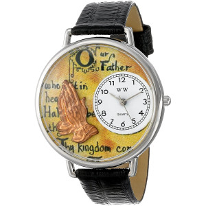 Whimsical Watches Unisex U0710011 Lord's Prayer Black Skin Leather Watch