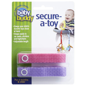 Baby Buddy Secure-A-Toy - Straps Toys, Teether, or Pacifiers to Strollers, Highchairs, Car Seats Safety Leash With Adjustable Length to Keep Toys Sanitary and Clean, Pink/Lilac 2 Count