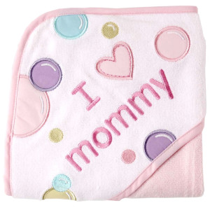 Luvable Friends Unisex Baby Hooded Towel, Pink Mom, One Size