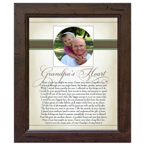 The Grandparent Gift Heart Collection 8x10 Picture Frame, Grandpa's Heart Poem