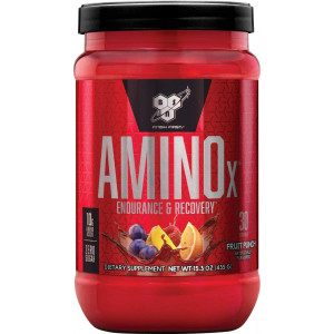 BSN Amino X Muscle Recovery and Endurance Powder with BCAAs, 10 Grams of Amino Acids, Keto Friendly, Caffeine Free, Flavor: Fruit Punch, 30 Servings (Packaging May Vary)