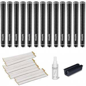 Golf Pride Tour Wrap 2G Jumbo Black - 13 pc Golf Grip Kit (with Tape, Solvent, Vise clamp)
