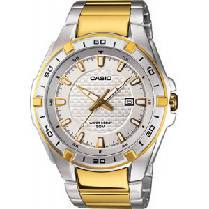Casio Men's MTP1306SG-7AV Silver Stainless-Steel Quartz Watch with White Dial