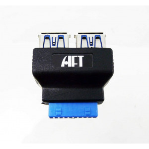 Atech Flash USB 3.0 10-Pin Motherboard Header to 2x USB 3.0 Type-A Port Adapter Converter (Retail)
