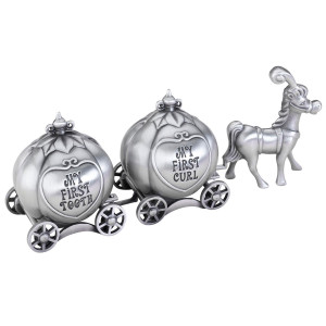 """Lillian Rose Keepsake Pewter Tooth and Curl Box, Fairytale Coach, 2"""" x 5"""""""