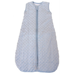 "Baby Sleeping Bag""Minky Dot"" Blue, Quilted Winter Model, 2.5 Tog (Small (3-11 mos))"