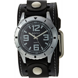 Nemesis #STH096K Men's Black Wide Leather Cuff Band Sporty Black Dial Watch