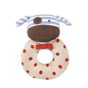 Apple Park Organic Farm Buddies - Boxer the Dog Teething Rattle, Baby Toy for Infants - Hypoallergenic, 100% Organic Cotton