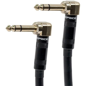 Monoprice 109441 Premier Series 1/4 Inch (TRS) Right Angle Male to Right Angle Male 16AWG Cable Cord - 6 Feet- Black (Gold Plated)