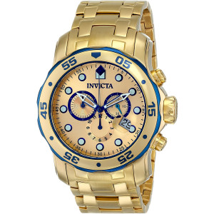 Invicta Mens Pro Diver Scuba Swiss Chronograph 18k Gold Plated Stainless Steel Watch 80069