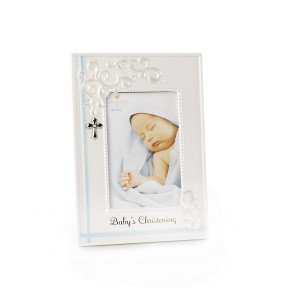 DEMDACO Blue Baby's Christening 9.75 x 9.5 Porcelain Picture Frame
