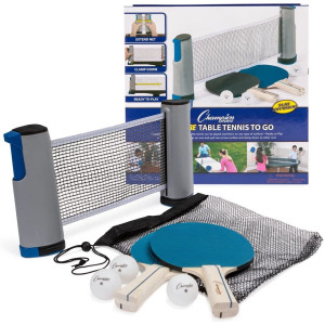 Champion Sports AWTSET Anywhere Table Tennis: Ping Pong Paddles, Balls, and Portable Net and Post Set To Go