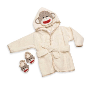 Sock Monkey Hooded Bath Robe Towel and Slipper Gift Set (0-9 Months) by Baby Starters