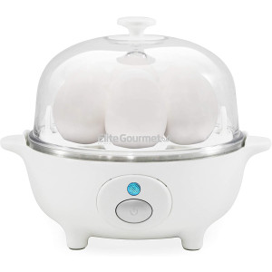 Maxi-Matic Elite Cuisine EGC-007 Easy Electric Poacher, Omelet, Scrambled Eggs and Soft, Medium, Hard-Boiled Egg Boiler Cooker with Auto Shut-Off and Buzzer, Measuring Cup Included, BPA Free, 7, White