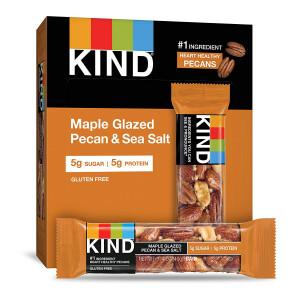 KIND Bars, Maple Glazed Pecan and Sea Salt, Gluten Free, Low Sugar, 1.4oz, 12 Count