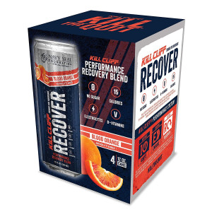 KILL CLIFF Recovery Drink, Blood Orange, 12 Oz Cans, 4 Count - Clean Hydration, Low Cal, Electrolytes, B-Vitamins