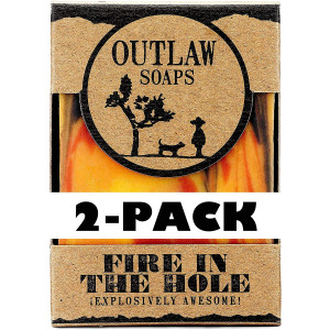 Fire in the Hole Handmade Campfire Soap - Explosively Awesome - 2 Pack - Campfire, Gunpowder, and Sagebrush-scented Soap, Just like a Wild Weekend Camping with Friends - Men's or Women's Bar Soap