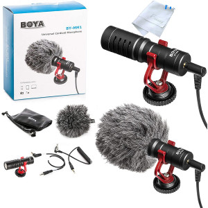 BOYA by-MM1 Shotgun Video Microphone, Cardiod Microphone Directional Condenser Mic Vdeomicro, w/Shock Mount Windscreen TRRS TRS, for iPhone/Andoid Smartphone, Canon Nikon Sony Camera Camcorders