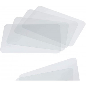 Clear Placemat Set of 4  Washable Dining or Kitchen Table Mat  Plastic - Heat Resistant