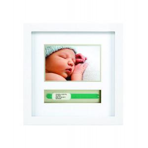 Pearhead Baby Keepsake Hospital ID Bracelet and Photo Frame, Baby Shower Gift, White