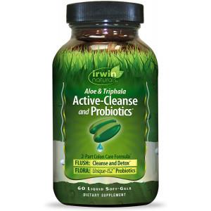 Irwin Naturals Aloe and Triphala Active Cleanse + Probiotics Natural Digestive Support - Gentle, Effective Detox + Elimination 2-Part Colon Care - Nourish + Balance - 60 Liquid Softgels