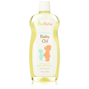 Baby Oil Multi Purpose with Argan Oil, Aloe Vera and Olive Oil 12 oz - Softening Hypoallergenic Solution for All Skin Types - Good on Men, Women and Kids