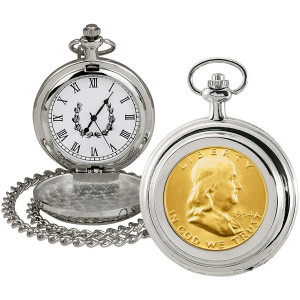 Coin Pocket Watch with Quartz Movement | Gold Layered Silver Franklin Half Dollar | Genuine U.S. Coin | Sweeping Second Hand, Roman Numerals | Silvertone Case | Certificate of Authenticity