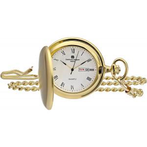 Charles-Hubert, Paris 3974-G Classic Collection Analog Display Japanese Quartz Pocket Watch
