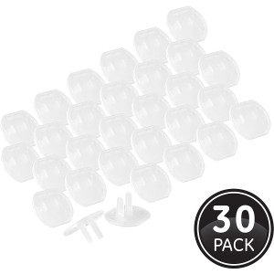 GE, Clear Child Safety, 30 Pack, Covers,Keep Children Safe, For Unused Electrical Outlets, Easy to Install, Guards Against Shocks, Plastic, 51175