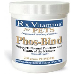 Rx Vitamins for Pets Phos-Bind for Dogs and Cats - Supports Normal Function and Health of Kidneys - Hypoallergenic - 200g Powder