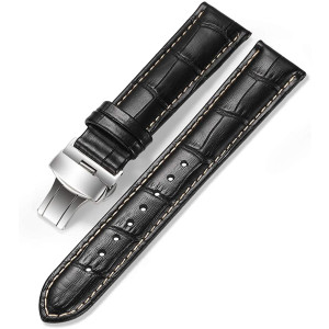 iStrap Leather Watch Band -Alligator Grain Embossed Pattern Calfskin Replacement Strap-Stainless Steel Deployment Buckle with Push Buttons-Bracelet for Men Women-18mm 19mm 20mm 21mm 22mm 24mm