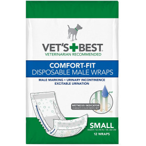 Vet's Best Comfort Fit Disposable Male Dog Diapers | Absorbent Male Wraps with Leak Proof Fit