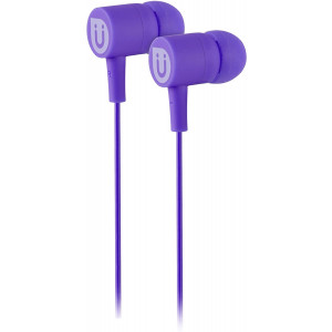 Uber In Ear Wired Earbuds, Comfortable Rubber Headphones, 3.5mm, High Sound Quality, Extra Earbud Tips, for Apple iPhone, iPad, iPod, Android Smartphones, Samsung Galaxy, Tablets and More, Purple, 13123