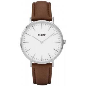 CLUSE La Bohme Round 38mm Silver Analog Display Quartz Women's Watch, Leather Band