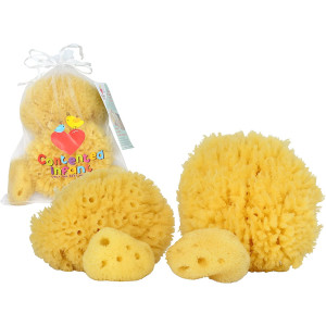 Real Sea Sponges for Babies - 4 Pk Bath Care Set, Gentle, Kind on Skin, for Bathing Washing Body Eyes and Ears, Also for Newborn Toddler and Kids; Baby Shower Spa Gift by Contented Infant