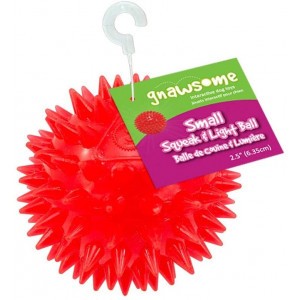 Gnawsome 2.5 Spiky Squeak and Light Ball Dog Toy - Small, Cleans teeth and Promotes Dental and Gum Health for Your Pet, Colors will vary
