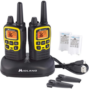Midland - X-TALKER T61VP3, 36 Channel FRS Two-Way Radio - Up to 32 Mile Range Walkie Talkie, 121 Privacy Codes, and NOAA Weather Scan + Alert (Pair Pack) (Black/Yellow)