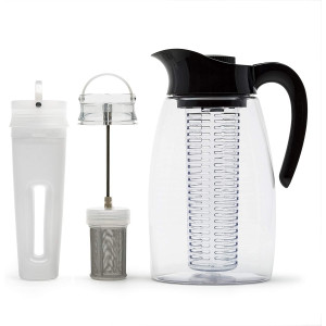 Primula Flavor-It Beverage System  Includes Large Capacity Fruit Infuser Core, Tea Infuser Core, and Chill Core  Dishwasher Safe  2.9 Qt.  Black (PFBK-3725)