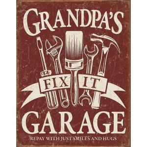 "Desperate Enterprises Grandpa's Garage Tin Sign, 12.5"" W x 16"" H"