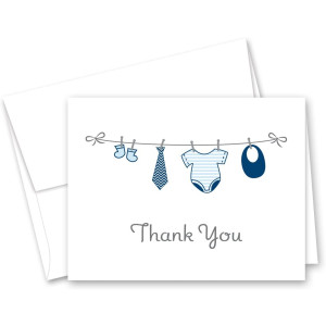 MyExpression.com 50 Cnt Hanging Baby Boy Cloth Baby Thank You Cards