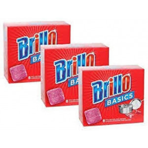 Brillo Basics Steel-wool Soap Pads, 8-ct. Boxes - Pack of 3