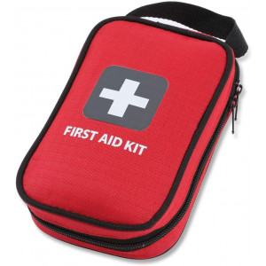 First Aid Kit  100 Pieces  Bag. Packed with Hospital Grade  Medical Supplies for Emergency and Survival situations. Ideal for The Car, Camping, Hiking, Travel, Office, Sports, Pets, Hunting, Home