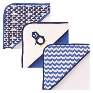 Luvable Friends Unisex Baby Cotton Terry Hooded Towels, Mr Penguin, One Size