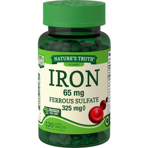 Nature's Truth Ferrous Sulfate Iron 65 mg Supplements, 120 Count